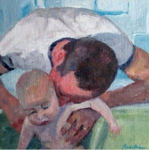 American portrait artist, dad and baby portrait