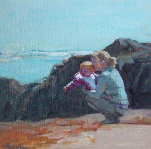 American portrait artist, mom and baby portrait