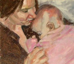 mom loves baby, American portrait artist