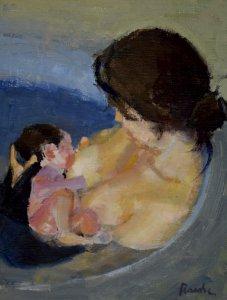 mom nursing baby, American portrait artist