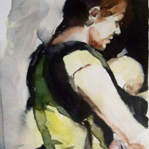 mom wearing baby, American portrait artist
