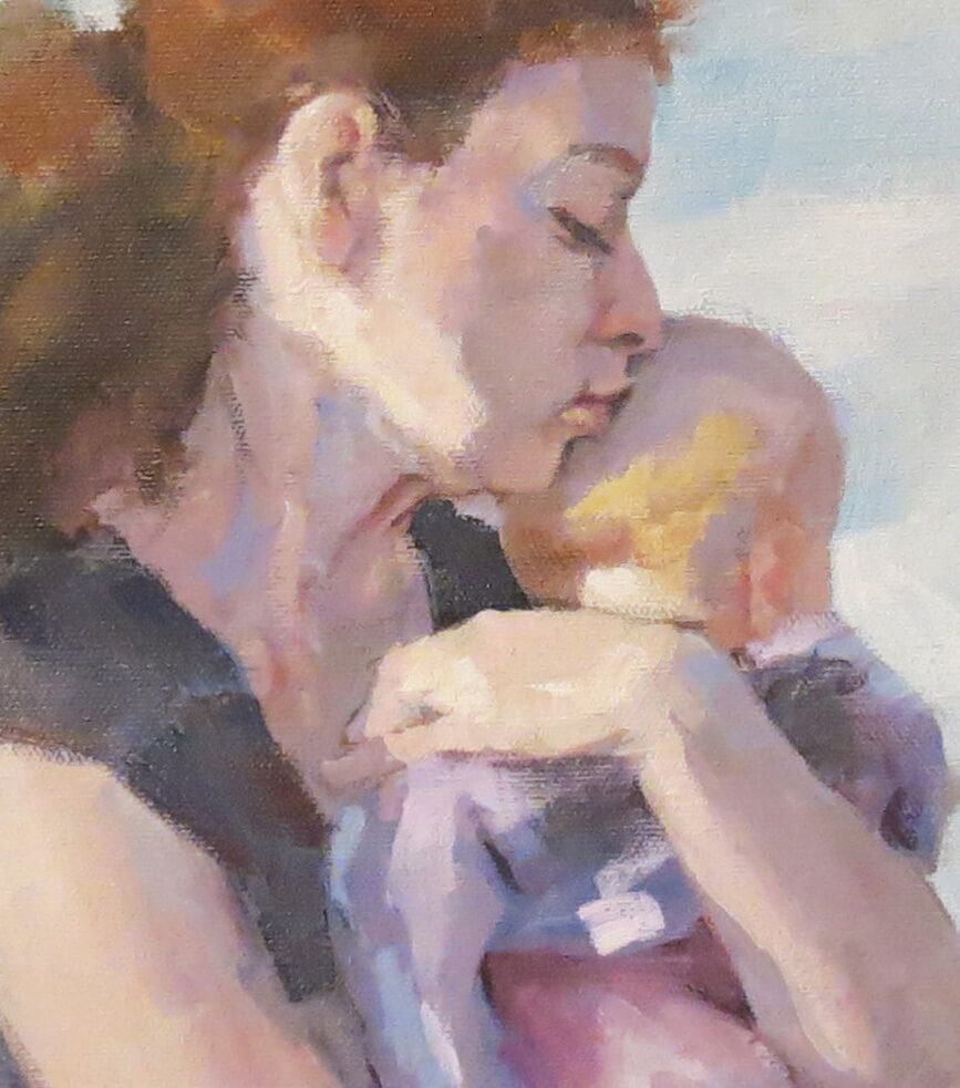 baby loves mom, American portrait artist