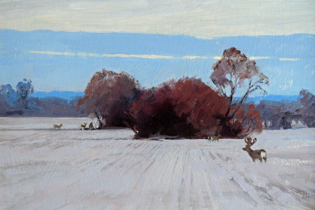 deer farm painting