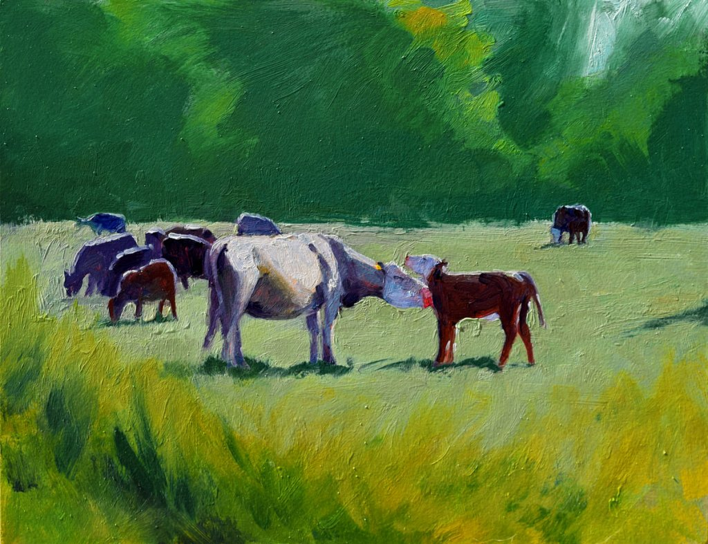 cow painting in oil