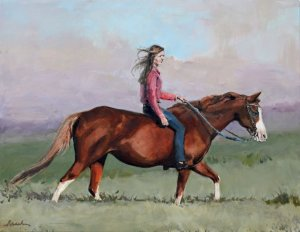horse and woman portrait