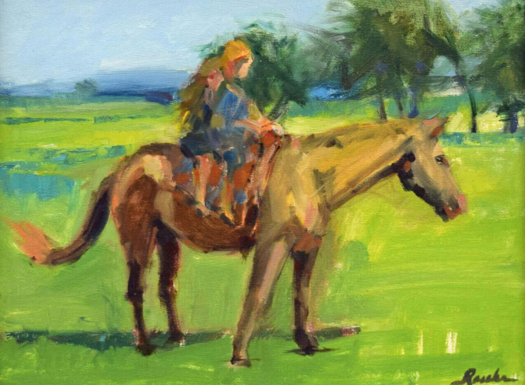 impressionist painting of children and horse