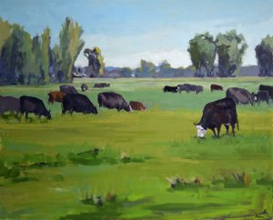 cow landscape art