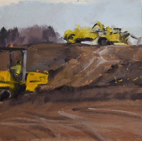 construction worker oil painting