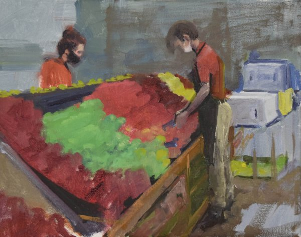 frontline worker oil painting