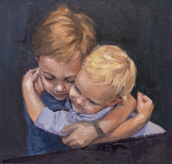 siblings portrait painting